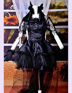 cheap Lolita Dresses-Gothic Lolita Dress Punk Lace Satin Women's Dress Cosplay Short Sleeves Medium Length