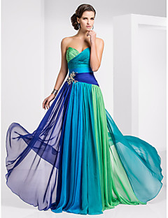 cheap Wedding Guest Dresses-A-Line Strapless Sweetheart Floor Length Chiffon Prom / Formal Evening Dress with Crystal Detailing Color Block Ruched by TS Couture®