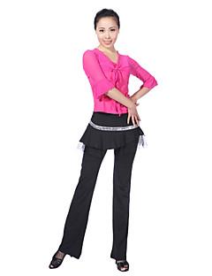tanie Stroje do tańca latino-Taniec latynoamerykański Outfits Damskie Szkolenie Wiskoza Cekin Rękaw 1/2 Naturalny