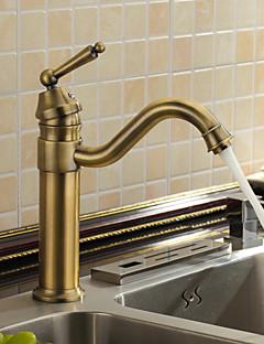 アンティーク バー/準備 デッキマウント セラミックバルブ 一つ シングルハンドルつの穴 for  アンティーク真鍮 , 水栓