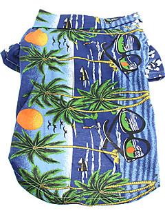 billiga Hundkläder-Katt Hund T-shirt Hundkläder Blommig/Botanisk Gul Blå Regnbåge Cotton Kostym För husdjur Herr Dam Semester Mode