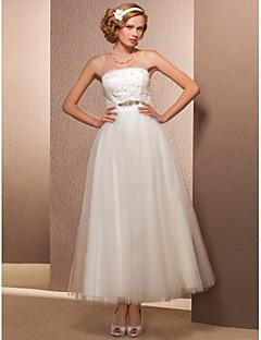 billiga Plusstorlek brudklänningar-A-linje Prinsessa Petite Plusstorlekar Brudklänning - Chic och modern Mottagning Vintage-inspirerad Liten vit klänning Glittra och gläns