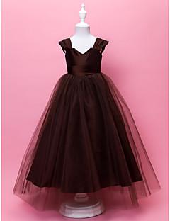billige Skjørt-A-line gulvlengde blomst jente kjole - tulle ermeløs v-nakke stropper av lan ting bride®