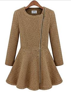 billige Lagersalg-Pinklady dame rund hals glidelås fold swing skjede tweed frakk