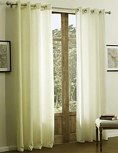 baratos Cortinas Personalizadas-Barra no Interior Anéis Presilhas Duplo Plissado Dois Painéis Tratamento janela Modern Sólido 55% Algodão Chenilhe/45% Rayon Raiom