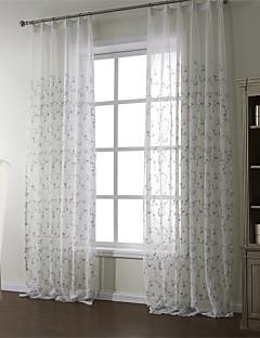 baratos Coleções de Janela-Barra no Interior Anéis Presilhas Duplo Plissado Dois Painéis Tratamento janela Regional, Bordado Material Sheer Curtains Shades