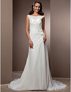 billiga Åtsmitande brudklänningar-Åtsmitande Bateau Neck Hovsläp Chiffong Bröllopsklänningar tillverkade med Bård / Applikationsbroderi / Knapp av LAN TING BRIDE®