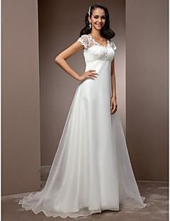billiga Imperiumbrudklänningar-A-linje V-hals Hovsläp Spets / Organza Bröllopsklänningar tillverkade med Bård av LAN TING BRIDE® / Illusion