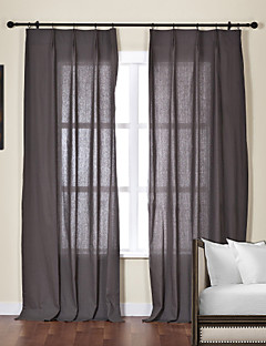 baratos Cortinas Transparentes-Sheer Curtains Shades Sala de Estar Sólido Linho / Mistura de Algodão