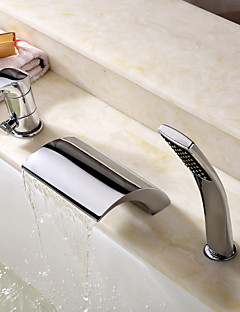billige Romersk- bad-Moderne Romersk kar Foss Hånddusj Inkludert Keramisk Ventil Tre Huller Enkelt håndtak tre hull Krom , Badekarskran