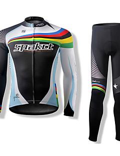 billige Sykkelklær-SPAKCT Langermet Sykkeljersey med tights Sykkel Klessett, Hold Varm, Fort Tørring, Pustende Polyester