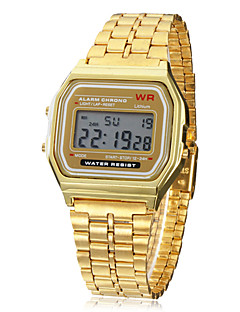 Herrn Digitaluhr Armbanduhr digital Alarm Kalender Chronograph LCD Legierung Band Gold