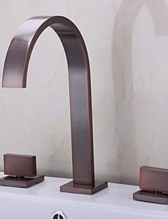 アンティーク調 ローマンバスタブ 滝状吐水タイプ with  セラミックバルブ 二つのハンドル三穴 for  オイルブロンズ , 浴槽用水栓