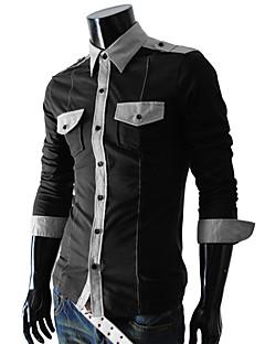 hesapli Erkek Üst Giyim-Erkek Pamuklu Polyester Uzun Kollu Zıt Renkli Günlük Gömlek
