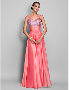 cheap Special Occasion Dresses-Sheath / Column Spaghetti Straps Floor Length Chiffon Sequined Prom Dress with Sequin Ruched by TS Couture®