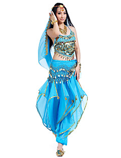 Belly Dance Outfits Women's Performance Chiffon Beading Coins Sequins 4 Pieces Sleeveless Top Pants Headpieces Hip Scarf