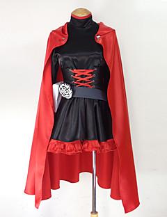 קיבל השראה מ RWBY Ruby Rose אנימה תחפושות קוספליי חליפות קוספליי טלאים שרוול ארוך שמלה מחוך חגורה שק גלימה עבור נקבה