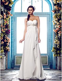 billiga Imperiumbrudklänningar-Åtsmitande Hjärtformad urringning Svepsläp Chiffong Bröllopsklänningar tillverkade med Bård / Korsvis av LAN TING BRIDE® / Öppen Rygg