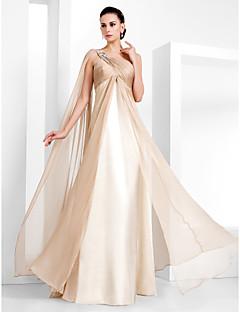 baratos Vestidos de Formatura-Tubinho Assimétrico Longo Chiffon Evento Formal Vestido com Detalhes em Cristal / Cruzado de TS Couture®