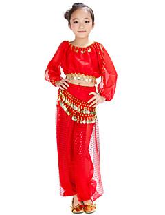 tanie Dziecięca odzież do tańca-Taniec brzucha Outfits Szyfon Cekin Monety