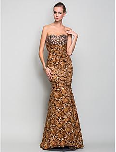 Hableány / trombita szívélyes padló hossza charmeuse estélyi ruhát a ts couture® gyöngyházával