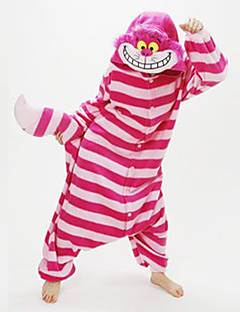 Kigurumi Pyjamas Chesire Cat Heldragtskostumer Pyjamas Kostume Koralfleece Rød Cosplay Til Voksne Nattøj Med Dyr Tegneserie Halloween