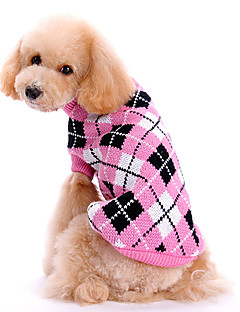 Dog Sweater Dog Clothes Cute Keep Warm Plaid/Check Pink