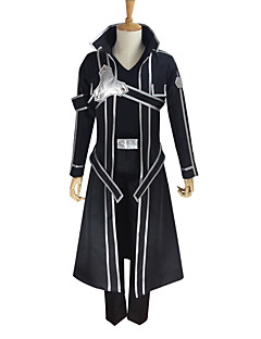 cheap Anime Costumes-Inspired by Sword Art Online Kirito Anime Cosplay Costumes Cosplay Suits Solid Colored Long Sleeves Coat Pants Gloves Belt Strap T-shirt