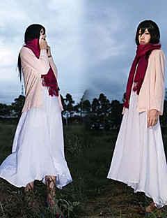 """billige Anime Kostymer-Inspirert av Attack on Titan Mikasa Ackermann Anime  """"Cosplay-kostymer"""" Cosplay Klær Ensfarget Frakk Kjole Halstørklæ Til Kvinnelig"""