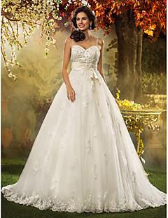 billiga Prinsessbrudklänningar-A-linje / Prinsessa Smala axelband Hovsläp Tyll Bröllopsklänningar tillverkade med Rosett / Bård / Applikationsbroderi av LAN TING BRIDE®