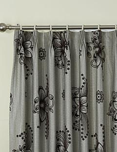 billige Gardiner-landets to paneler floral botaniske grå roms lin panelgardiner gardiner