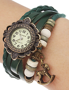 billige Armbåndsure-Dame Quartz Armbåndsur Hot Salg Bånd Blomst Bohemisk Træ Sort Blåt Rød Orange Brun Grøn