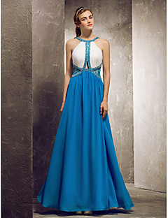 cheap Special Occasion Dresses-Sheath / Column Jewel Neck Floor Length Chiffon Bridesmaid Dress with Beading Lace by TS Couture®