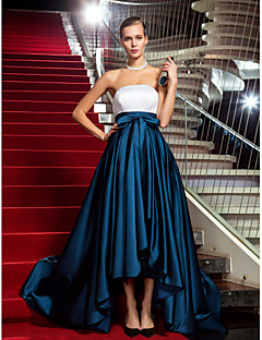 A-Line Princess Strapless Asymmetrical Satin Formal Evening Military Ball Black Tie Gala Dress with Draping by TS Couture®