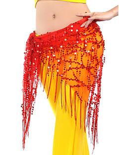זול הלבשה לריקודי בטן-ריקוד בטן צעיפי מותן לריקודי בטן בגדי ריקוד נשים הדרכה Chinlon נצנצים פרנזים צעיף מותניים לריקודי בטן