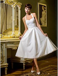 billiga Prinsessbrudklänningar-A-linje / Prinsessa Halterneck Telång Tyll Bröllopsklänningar tillverkade med Draperad av LAN TING BRIDE® / Liten vit klänning