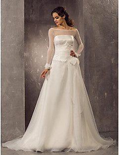 cheap True Allure-A-Line Princess Off-the-shoulder Court Train Organza Tulle Wedding Dress with Bow Ruche by LAN TING BRIDE®