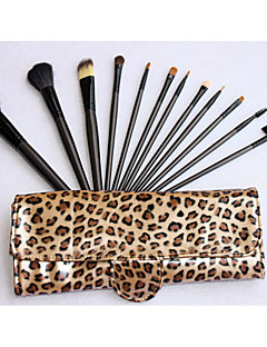 billige Sminkebørstesett-Pro High Quality 12 PCer Natural Goat Hair Makeup Brush Set med Leopard veske