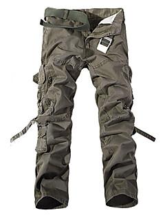 billige Herrebukser og -shorts-Herre Militær Bomull Løstsittende / Tynn / Chinos Bukser Ensfarget / Langermet / Helg
