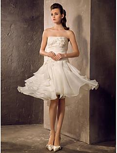 billiga Prinsessbrudklänningar-A-linje / Prinsessa Axelbandslös Knälång Organza Bröllopsklänningar tillverkade med Bård / Applikationsbroderi / Veckad av LAN TING BRIDE®