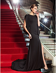 Sheath / Column Scoop Neck Sweep / Brush Train Jersey Formal Evening Military Ball Dress with Crystal Detailing Split Front by TS Couture®