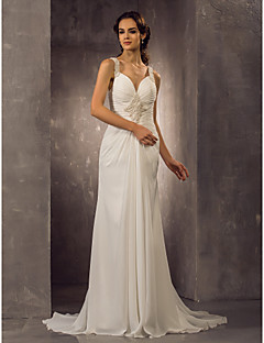 billiga Åtsmitande brudklänningar-Åtsmitande remmar Svepsläp Chiffong Bröllopsklänningar tillverkade med Bård / Veckad av LAN TING BRIDE®