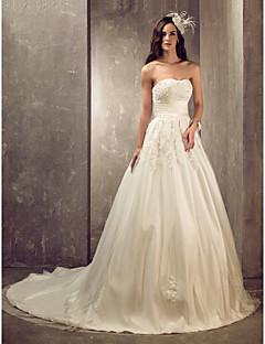 billiga Brudklänningar-A-linje / Prinsessa Hjärtformad urringning Hovsläp Satäng / Tyll Bröllopsklänningar tillverkade med av LAN TING BRIDE®