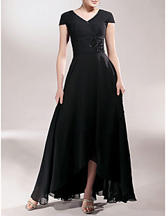 Sheath / Column V-neck Asymmetrical Chiffon Mother of the Bride Dress with Beading Appliques Ruching by LAN TING BRIDE®