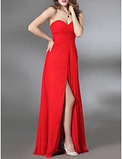 billiga Aftonklänningar-Kapp / kolonnbandslös sötnos golvlängd chiffong militär klänning med sidogräsning av ts couture®