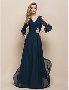 billiga Aftonklänningar-a-line v-ringad Sopa / Borste Tåg chiffong aftonklänning 929.978