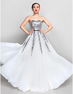 baratos Vestidos de Formatura-Linha A Decote Princesa Longo Chiffon / Paetês Brilho & Glitter Baile de Formatura / Evento Formal Vestido com Lantejoulas / Faixa / Fita de TS Couture®