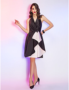Aライン ホルター 膝丈 サテン カクテルパーティー 同窓会 祝日 ドレス とともに クリスクロス 〜によって TS Couture®