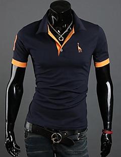 お買い得  メンズポロシャツ-男性のラペルの刺繍スリム半袖ポロシャツTシャツ