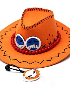 Hut/ Mütze Inspiriert von One Piece Portgas D. Ace Anime Cosplay Accessoires Flügelärmel / Hut Orange PU Leder Mann